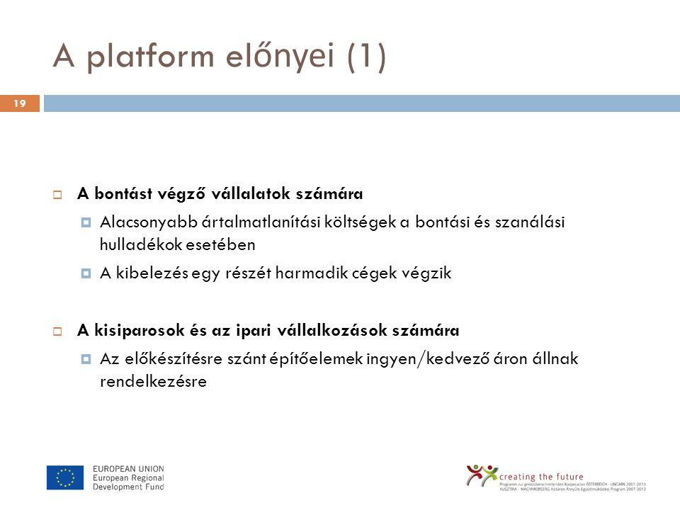 A platform el őnyei (1)  A bontást végző vállalatok számára  Alacsonyabb ártalmatlanítási költségek a bontási és szanálási hulladékok esetében  A k