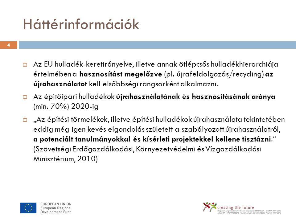 Háttérinformációk  Az EU hulladék-keretirányelve, illetve annak ötlépcsős hulladékhierarchiája értelmében a hasznosítást megelőzve (pl. újrafeldolgoz