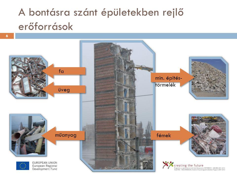 A bontásra szánt épületekben rejlő erőforrások 6 min. építés- törmelék fémek műanyag fa üveg