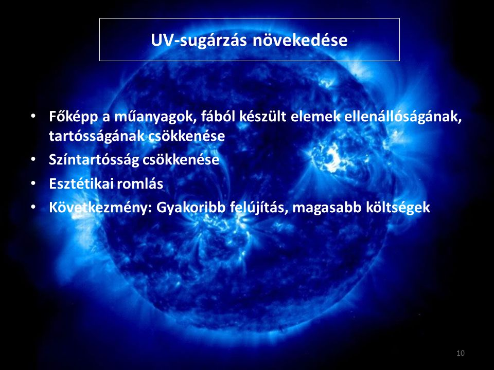 UV-sugárzás növekedése Főképp a műanyagok, fából készült elemek ellenállóságának, tartósságának csökkenése Színtartósság csökkenése Esztétikai romlás Következmény: Gyakoribb felújítás, magasabb költségek 10