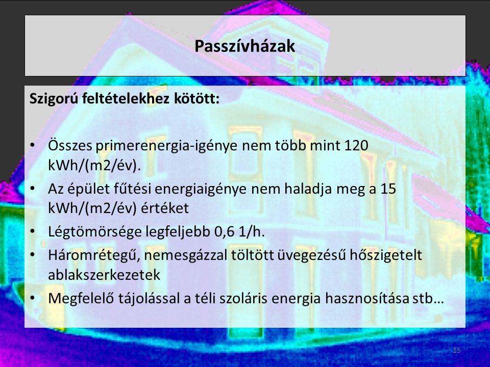 Passzívházak Szigorú feltételekhez kötött: Összes primerenergia-igénye nem több mint 120 kWh/(m2/év).