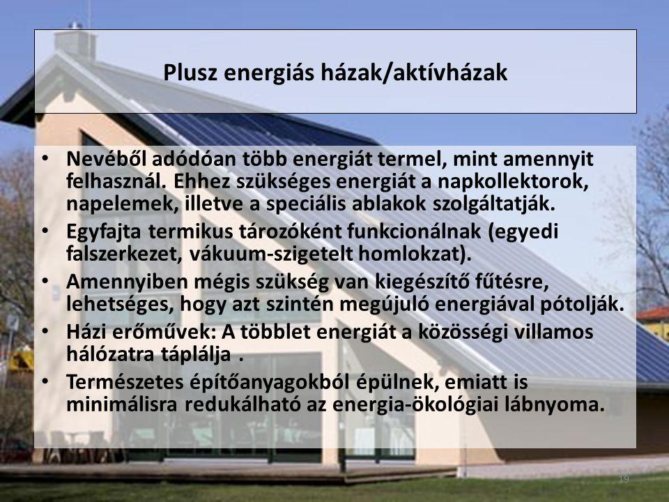 Plusz energiás házak/aktívházak Nevéből adódóan több energiát termel, mint amennyit felhasznál.