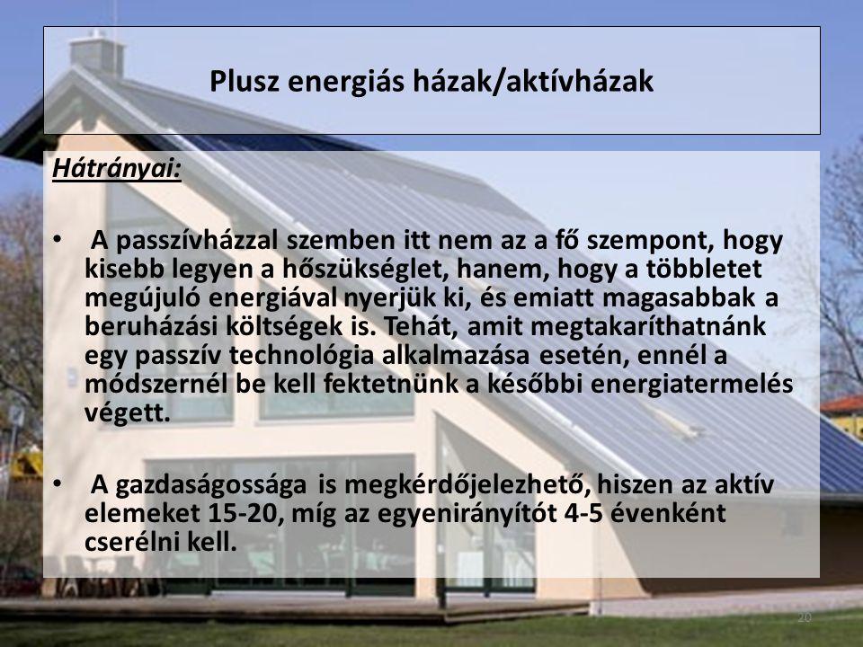 Hátrányai: A passzívházzal szemben itt nem az a fő szempont, hogy kisebb legyen a hőszükséglet, hanem, hogy a többletet megújuló energiával nyerjük ki, és emiatt magasabbak a beruházási költségek is.