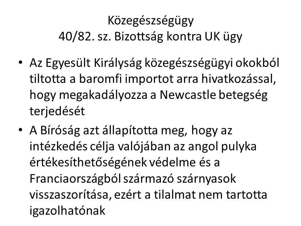 Közegészségügy 40/82. sz. Bizottság kontra UK ügy Az Egyesült Királyság közegészségügyi okokból tiltotta a baromfi importot arra hivatkozással, hogy m