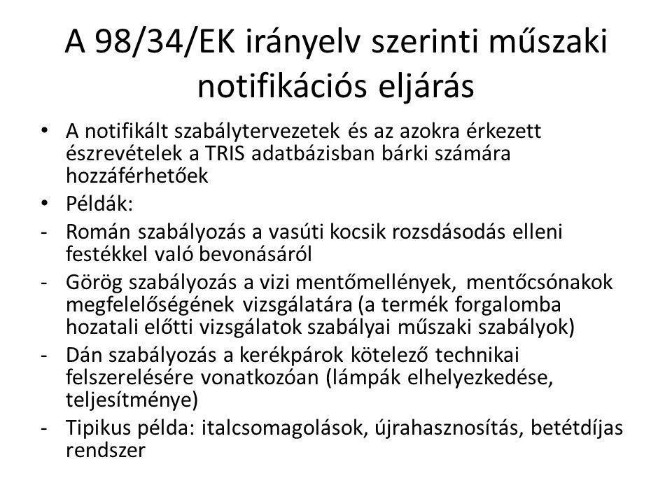 A 98/34/EK irányelv szerinti műszaki notifikációs eljárás A notifikált szabálytervezetek és az azokra érkezett észrevételek a TRIS adatbázisban bárki