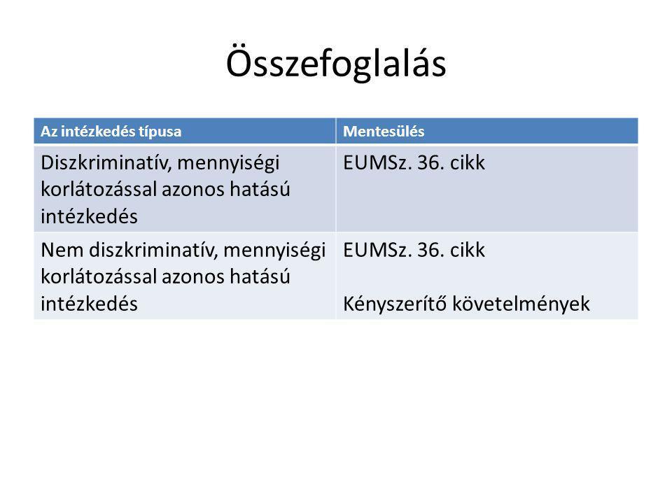 Összefoglalás Az intézkedés típusaMentesülés Diszkriminatív, mennyiségi korlátozással azonos hatású intézkedés EUMSz. 36. cikk Nem diszkriminatív, men