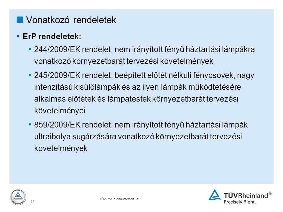 TÜV Rheinland Intercert Kft. 12  Vonatkozó rendeletek ErP rendeletek: 244/2009/EK rendelet: nem irányított fényű háztartási lámpákra vonatkozó környe