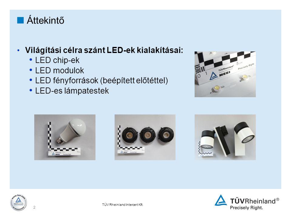 TÜV Rheinland Intercert Kft. 2  Áttekintő Világítási célra szánt LED-ek kialakításai: LED chip-ek LED modulok LED fényforrások (beépített előtéttel)