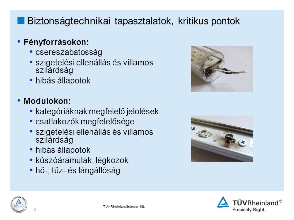 TÜV Rheinland Intercert Kft. 8  Biztonságtechnikai tapasztalatok, kritikus pontok Fényforrásokon: csereszabatosság szigetelési ellenállás és villamos