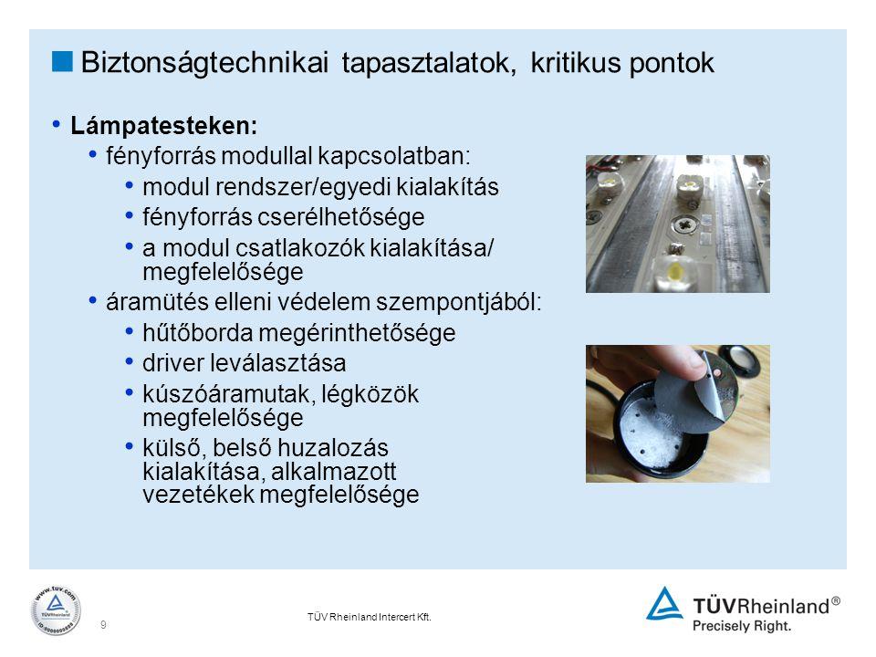 TÜV Rheinland Intercert Kft. 9  Biztonságtechnikai tapasztalatok, kritikus pontok Lámpatesteken: fényforrás modullal kapcsolatban: modul rendszer/egy