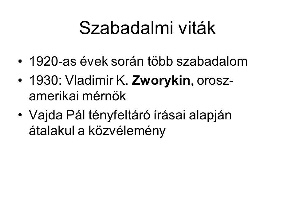 Szabadalmi viták 1920-as évek során több szabadalom 1930: Vladimir K. Zworykin, orosz- amerikai mérnök Vajda Pál tényfeltáró írásai alapján átalakul a
