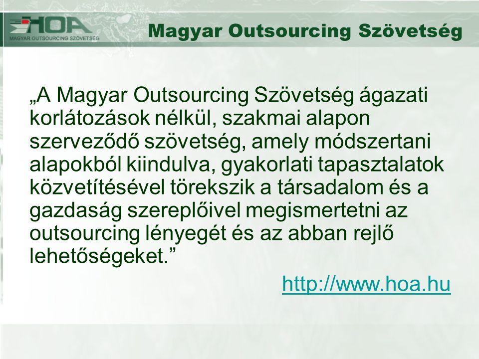 """Magyar Outsourcing Szövetség """"A Magyar Outsourcing Szövetség ágazati korlátozások nélkül, szakmai alapon szerveződő szövetség, amely módszertani alapokból kiindulva, gyakorlati tapasztalatok közvetítésével törekszik a társadalom és a gazdaság szereplőivel megismertetni az outsourcing lényegét és az abban rejlő lehetőségeket. http://www.hoa.hu"""