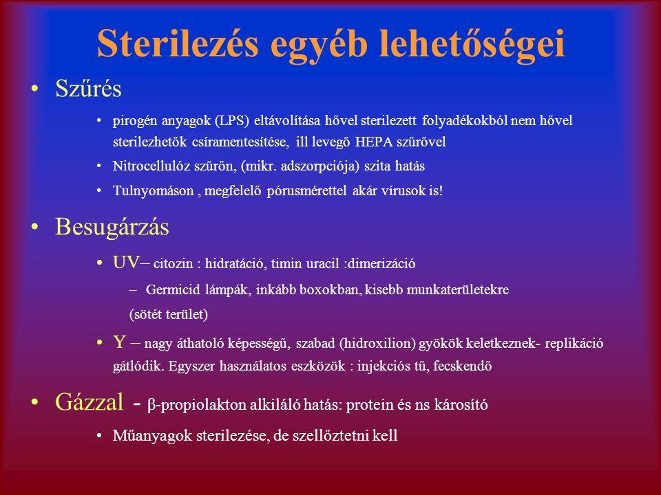 Sterilezés egyéb lehetőségei Szűrés pirogén anyagok (LPS) eltávolítása hővel sterilezett folyadékokból nem hővel sterilezhetők csíramentesítése, ill levegő HEPA szűrővel Nitrocellulóz szűrőn, (mikr.