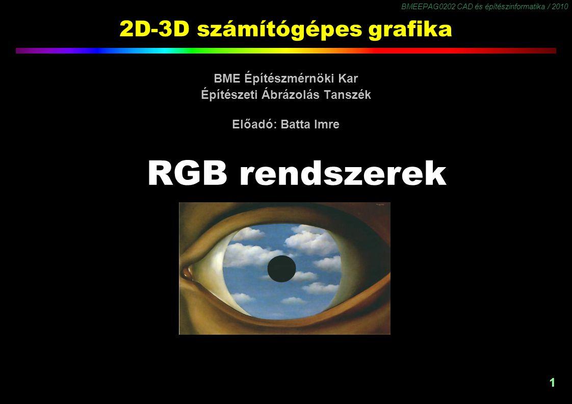 BMEEPAG0202 CAD és építészinformatika / 2010 22 Színkülönbség színmodellek A színes TV adás bevezetésének feltétele: fekete-fehér készülékkel is nézhető legyen.