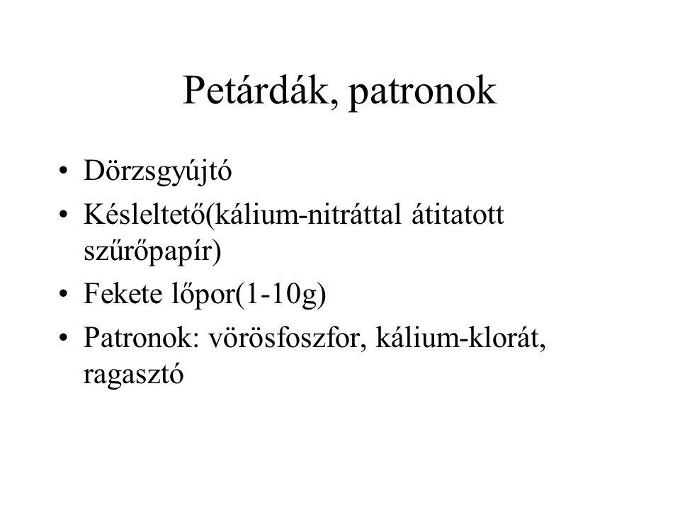 Petárdák, patronok Dörzsgyújtó Késleltető(kálium-nitráttal átitatott szűrőpapír) Fekete lőpor(1-10g) Patronok: vörösfoszfor, kálium-klorát, ragasztó