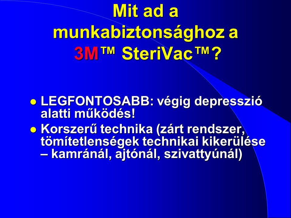 Mit ad a munkabiztonsághoz a 3M™ SteriVac™? l LEGFONTOSABB: végig depresszió alatti működés! l Korszerű technika (zárt rendszer, tömítetlenségek techn