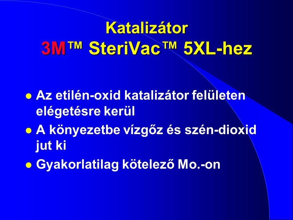 Katalizátor 3M™ SteriVac™ 5XL-hez l Az etilén-oxid katalizátor felületen elégetésre kerül l A könyezetbe vízgőz és szén-dioxid jut ki l Gyakorlatilag