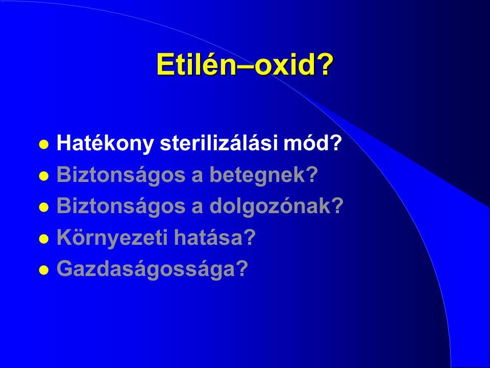 Etilén–oxid? l Hatékony sterilizálási mód? l Biztonságos a betegnek? l Biztonságos a dolgozónak? l Környezeti hatása? l Gazdaságossága?