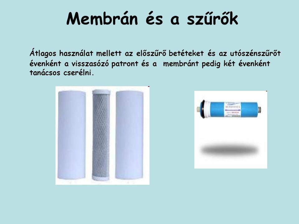 Membrán és a szűrők Átlagos használat mellett az előszűrő betéteket és az utószénszűrőt évenként a visszasózó patront és a membránt pedig két évenként