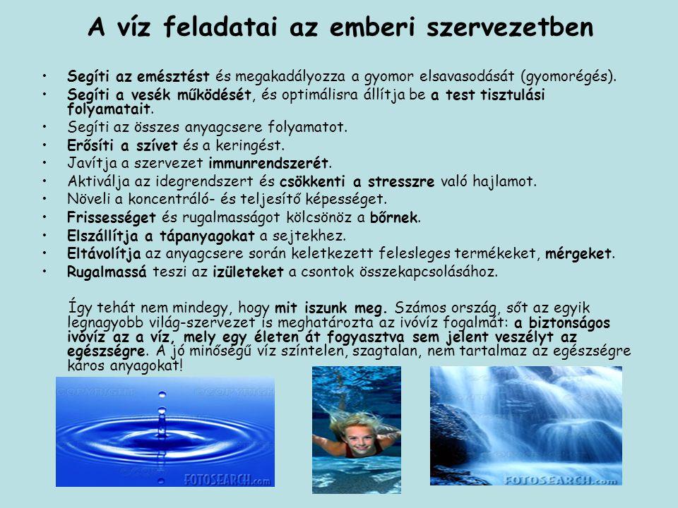 A víz feladatai az emberi szervezetben Segíti az emésztést és megakadályozza a gyomor elsavasodását (gyomorégés). Segíti a vesék működését, és optimál