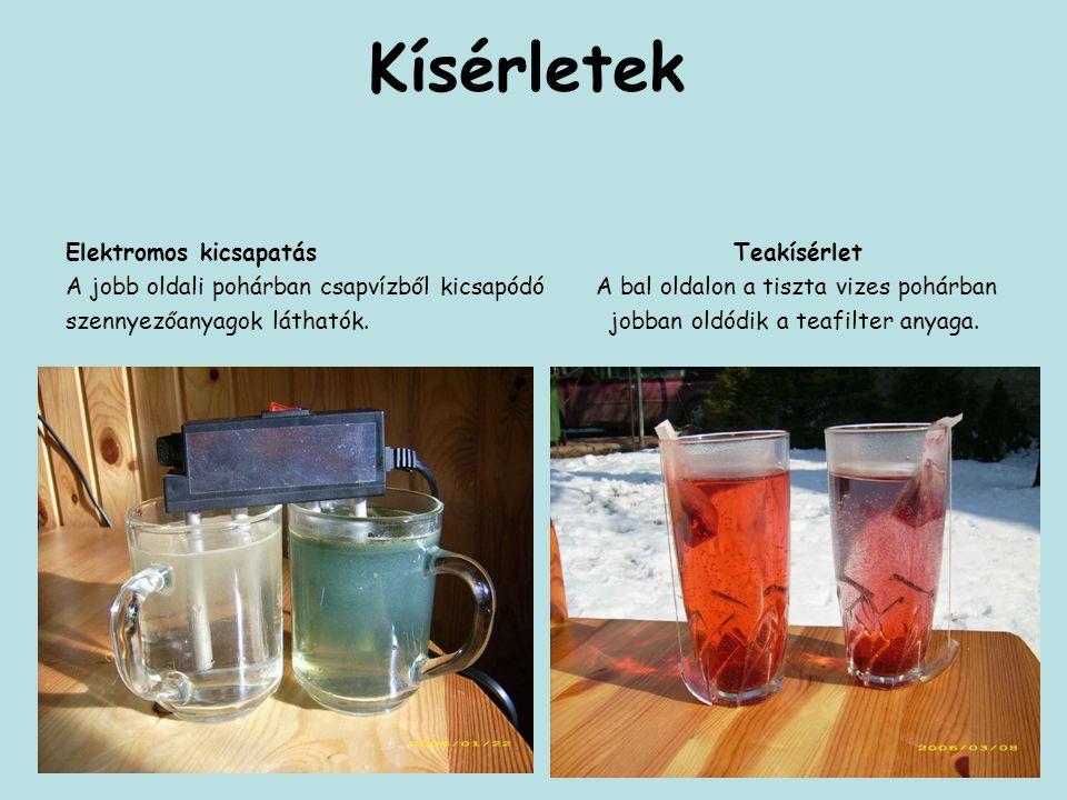 Kísérletek Elektromos kicsapatás Teakísérlet A jobb oldali pohárban csapvízből kicsapódó A bal oldalon a tiszta vizes pohárban szennyezőanyagok láthat