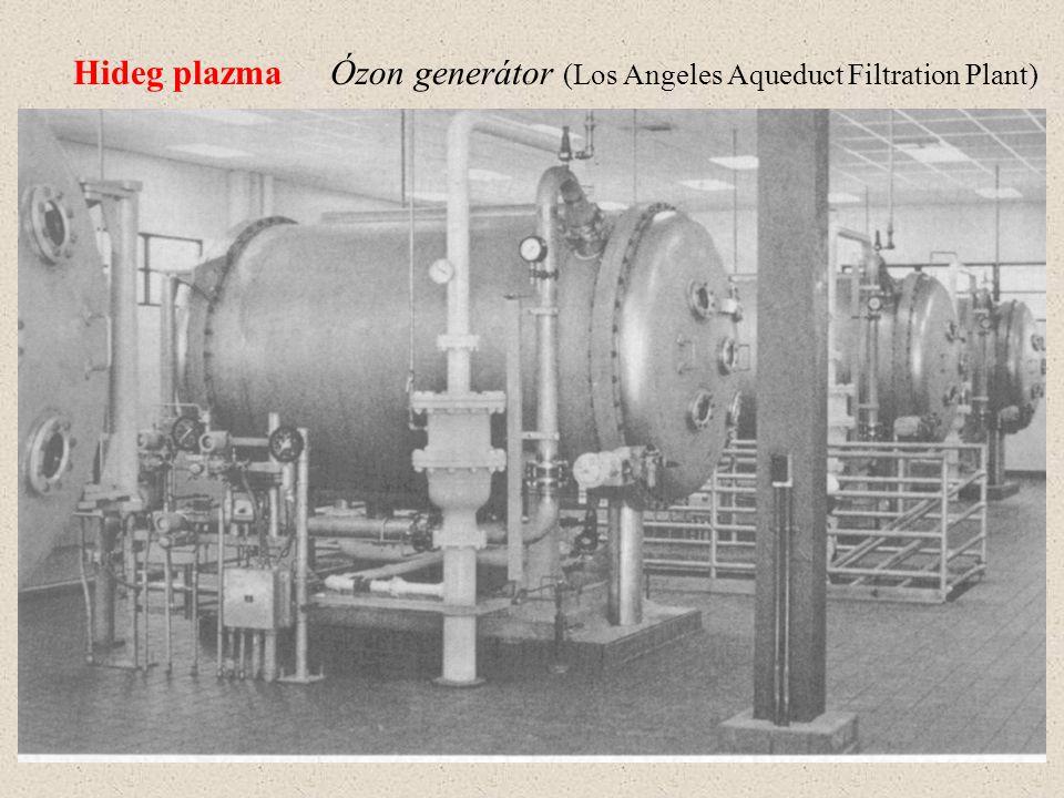 Hideg plazmaÓzon generátor felépítése Hűtővíz Vezető réteg SzikraközAcél cső Gáz áramlás Biztosító