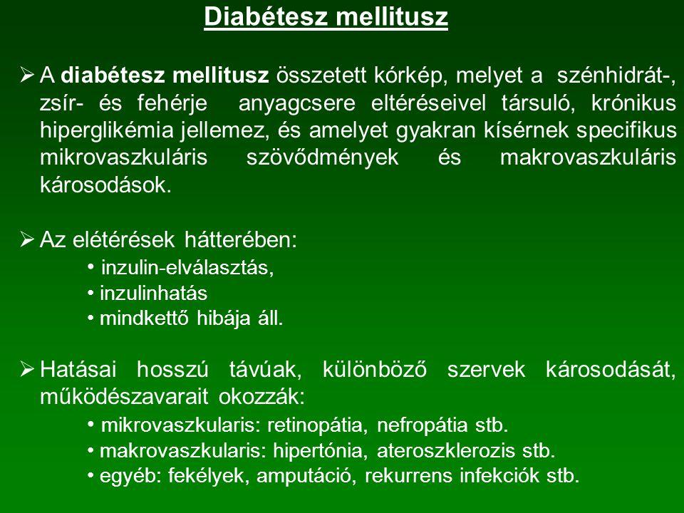 Diabétesz mellitusz  A diabétesz mellitusz összetett kórkép, melyet a szénhidrát-, zsír- és fehérje anyagcsere eltéréseivel társuló, krónikus hiperglikémia jellemez, és amelyet gyakran kísérnek specifikus mikrovaszkuláris szövődmények és makrovaszkuláris károsodások.