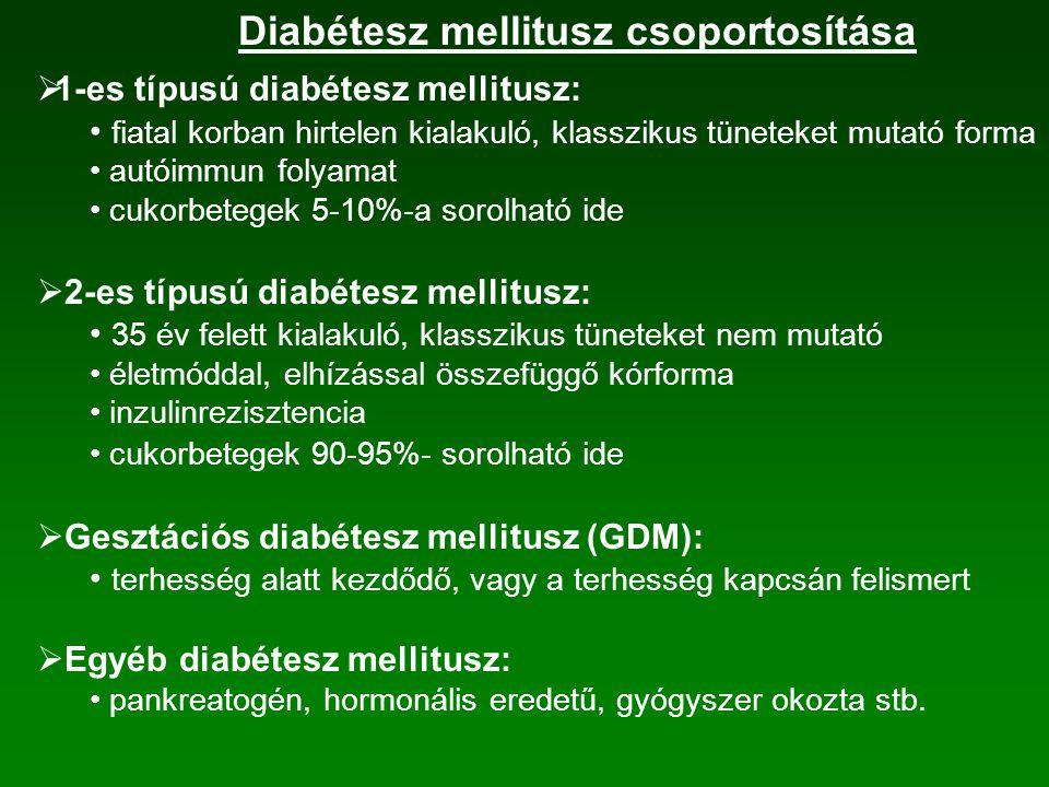  1-es típusú diabétesz mellitusz: fiatal korban hirtelen kialakuló, klasszikus tüneteket mutató forma autóimmun folyamat cukorbetegek 5-10%-a sorolható ide  2-es típusú diabétesz mellitusz: 35 év felett kialakuló, klasszikus tüneteket nem mutató életmóddal, elhízással összefüggő kórforma inzulinrezisztencia cukorbetegek 90-95%- sorolható ide  Gesztációs diabétesz mellitusz (GDM): terhesség alatt kezdődő, vagy a terhesség kapcsán felismert  Egyéb diabétesz mellitusz: pankreatogén, hormonális eredetű, gyógyszer okozta stb.