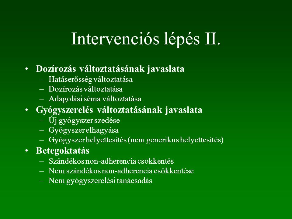Intervenciós lépés I.