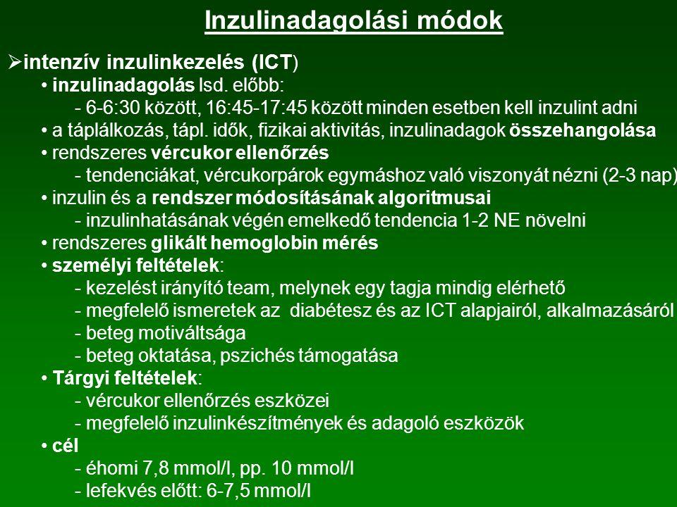 Inzulinadagolási módok  napi egyszeri bázis inzulin manapság már nem alkalmazzák  napjában kétszer adott intermedier inzulin endogén inzulintartalékokkal rendelkező, rendszeres életmódot folytató betegeknél előnye: egyszerűség, biztonságosság, kevéssé motivált betegnél is reggeli és vacsora előtti gyors és intermedier inzulin kombinációja inzulinarányok reggel:este 2:1, 3:2 beadási időpontok: reggel 6-7 óra, este 17.30-18.30 inzulinbeadás és az étkezések közti időtartam kb.: 30 perc étkezések közti időtartam kb.: 2,5 óránként  napi háromszori inzulinadás  napi többszöri inzulinadás a protokoll rövid hatástartamú inzulin minden főétkezés előtt, kiegészítve egyszer vagy kétszer adott bázis inzulinnal  intenzív inzulinkezelés (ICT ) flexibilisen alakítható az életvitelhez