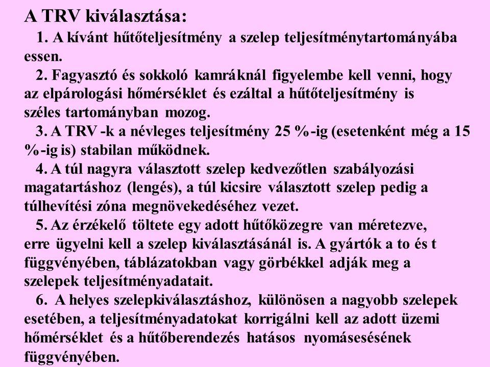 A TRV kiválasztása: 1. A kívánt hűtőteljesítmény a szelep teljesítménytartományába essen. 2. Fagyasztó és sokkoló kamráknál figyelembe kell venni, hog
