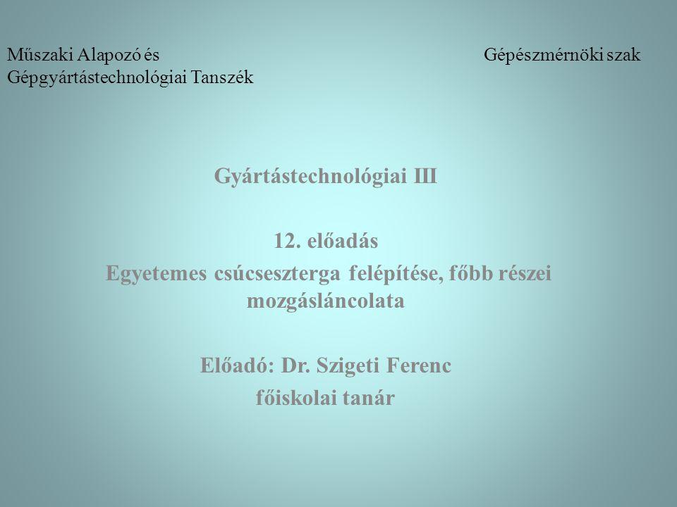 Műszaki Alapozó és Gépészmérnöki szak Gépgyártástechnológiai Tanszék Gyártástechnológiai III 12. előadás Egyetemes csúcseszterga felépítése, főbb rész