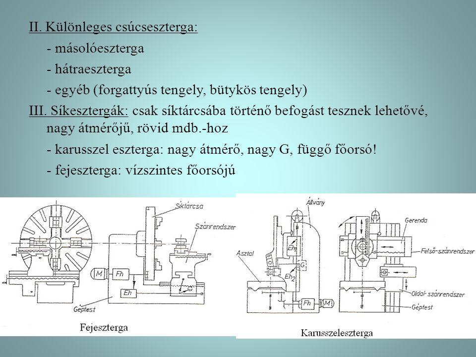 II. Különleges csúcseszterga: - másolóeszterga - hátraeszterga - egyéb (forgattyús tengely, bütykös tengely) III. Síkesztergák: csak síktárcsába törté
