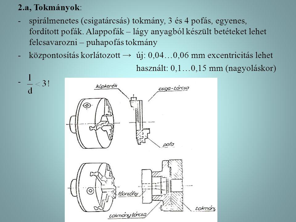 2.a, Tokmányok: -spirálmenetes (csigatárcsás) tokmány, 3 és 4 pofás, egyenes, fordított pofák. Alappofák – lágy anyagból készült betéteket lehet felcs