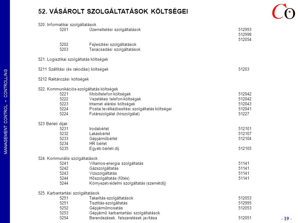 MANAGEMENT CONTROL - CONTROLLING - 19 - Kurzusok: E1-4LGABP, E2-4LGABPveryz@t-online.hu 52.