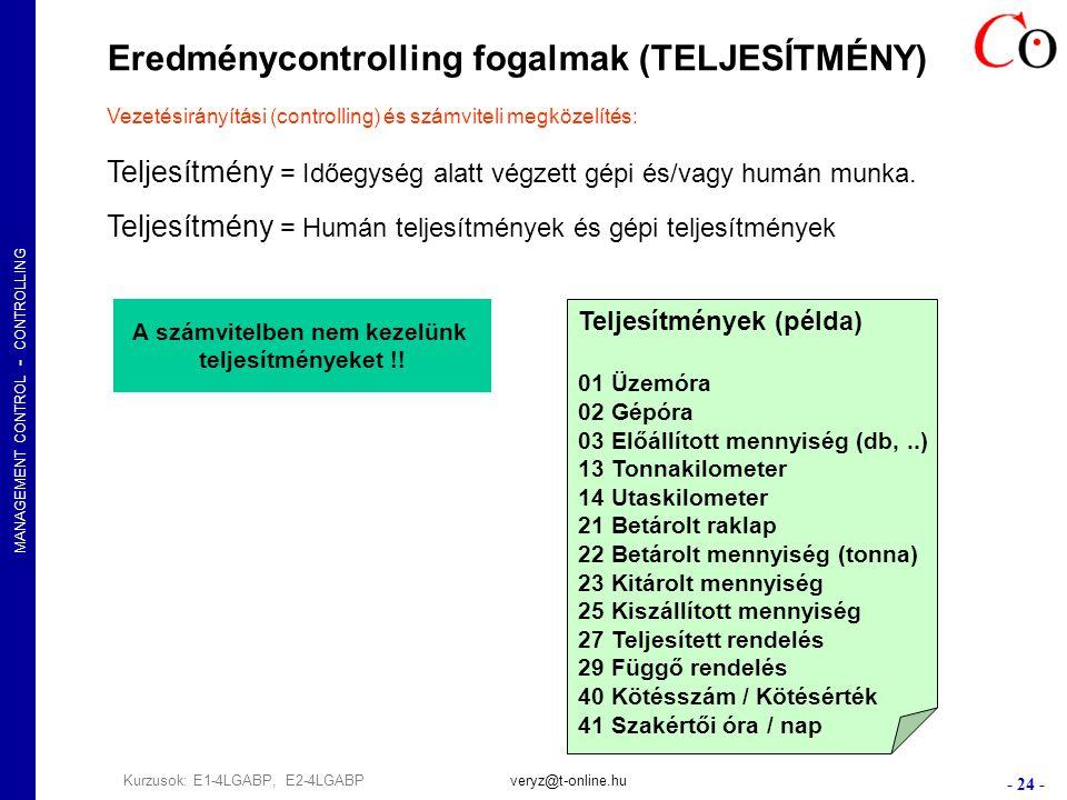 MANAGEMENT CONTROL - CONTROLLING - 24 - Kurzusok: E1-4LGABP, E2-4LGABPveryz@t-online.hu Eredménycontrolling fogalmak (TELJESÍTMÉNY) Vezetésirányítási (controlling) és számviteli megközelítés: Teljesítmény = Időegység alatt végzett gépi és/vagy humán munka.