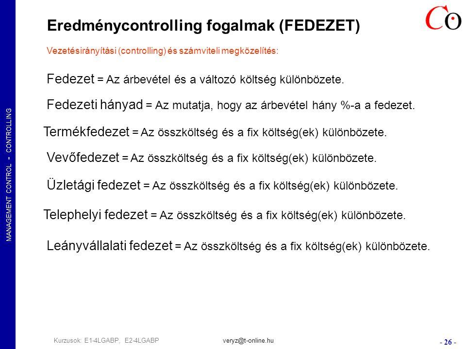 MANAGEMENT CONTROL - CONTROLLING - 26 - Kurzusok: E1-4LGABP, E2-4LGABPveryz@t-online.hu Eredménycontrolling fogalmak (FEDEZET) Vezetésirányítási (controlling) és számviteli megközelítés: Fedezet = Az árbevétel és a változó költség különbözete.