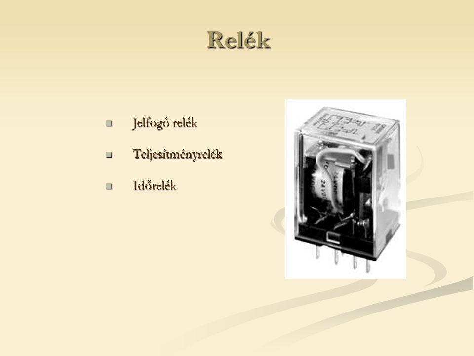 Relék Jelfogó relék Jelfogó relék Teljesítményrelék Teljesítményrelék Időrelék Időrelék
