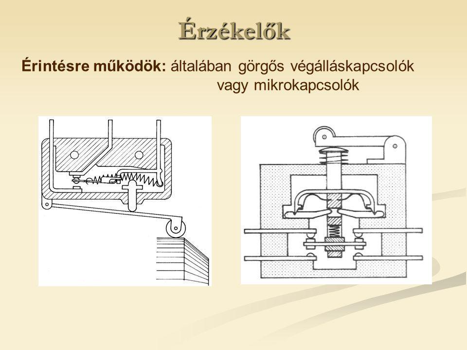 Érzékelők Érintésre működök: általában görgős végálláskapcsolók vagy mikrokapcsolók