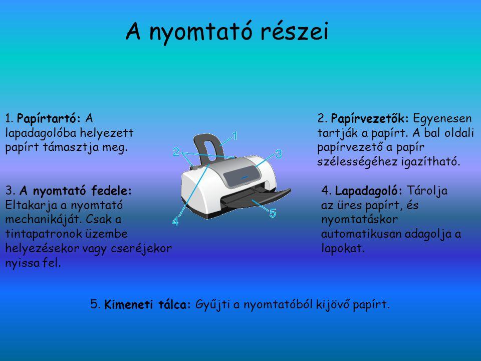 A nyomtató részei ll 1.A tintapatron rögzítő kapcsa: Rögzíti a tintapatront.