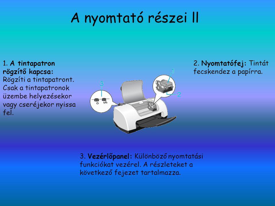 A nyomtató részei ll 1. A tintapatron rögzítő kapcsa: Rögzíti a tintapatront. Csak a tintapatronok üzembe helyezésekor vagy cseréjekor nyissa fel. 2.