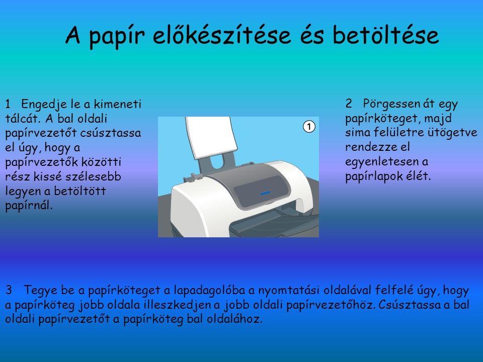 A papír előkészítése és betöltése 1 Engedje le a kimeneti tálcát. A bal oldali papírvezetőt csúsztassa el úgy, hogy a papírvezetők közötti rész kissé