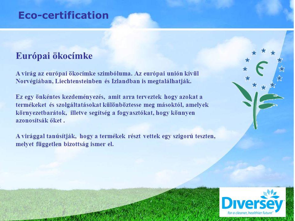Eco-certification Európai ökocímke A virág az európai ökocímke szimbóluma. Az európai unión kívül Norvégiában, Liechtensteinben és Izlandban is megtal