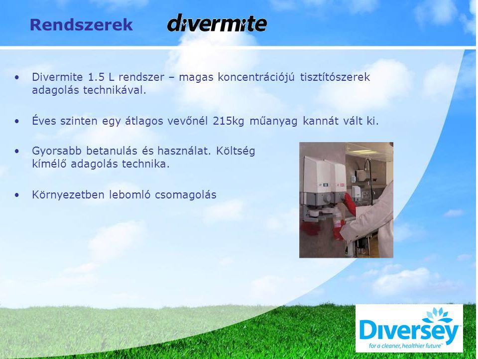 Rendszerek Divermite 1.5 L rendszer – magas koncentrációjú tisztítószerek adagolás technikával.