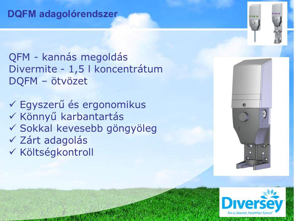 QFM - kannás megoldás Divermite - 1,5 l koncentrátum DQFM – ötvözet Egyszerű és ergonomikus Könnyű karbantartás Sokkal kevesebb göngyöleg Zárt adagolás Költségkontroll DQFM adagolórendszer
