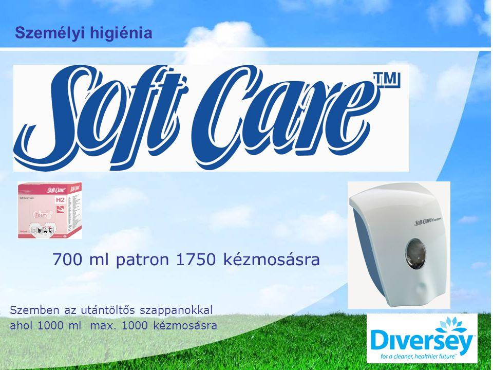 700 ml patron 1750 kézmosásra Szemben az utántöltős szappanokkal ahol 1000 ml max.