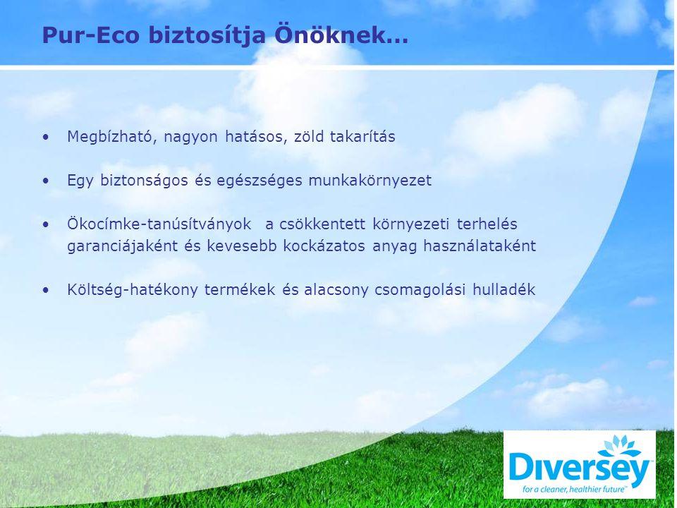 Pur-Eco biztosítja Önöknek… Megbízható, nagyon hatásos, zöld takarítás Egy biztonságos és egészséges munkakörnyezet Ökocímke-tanúsítványok a csökkentett környezeti terhelés garanciájaként és kevesebb kockázatos anyag használataként Költség-hatékony termékek és alacsony csomagolási hulladék