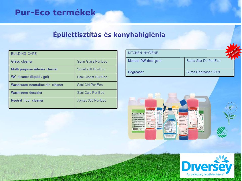 Pur-Eco termékek Jontec 300 Pur-Eco Sani Calc Pur-Eco Sani Cid Pur-Eco Sani Clonet Pur-Eco Sprint 200 Pur-Eco Sprin Glass Pur-Eco Washroom descaler Neutral floor cleaner Washroom neutral/acidic cleaner WC cleaner (liquid / gel)‏ Multi purpose interior cleaner Glass cleaner BUILDING CARE Suma Degreaser D3.9 Suma Star D1 Pur-Eco Degreaser Manual DW detergent KITCHEN HYGIENE Épülettisztítás és konyhahigiénia