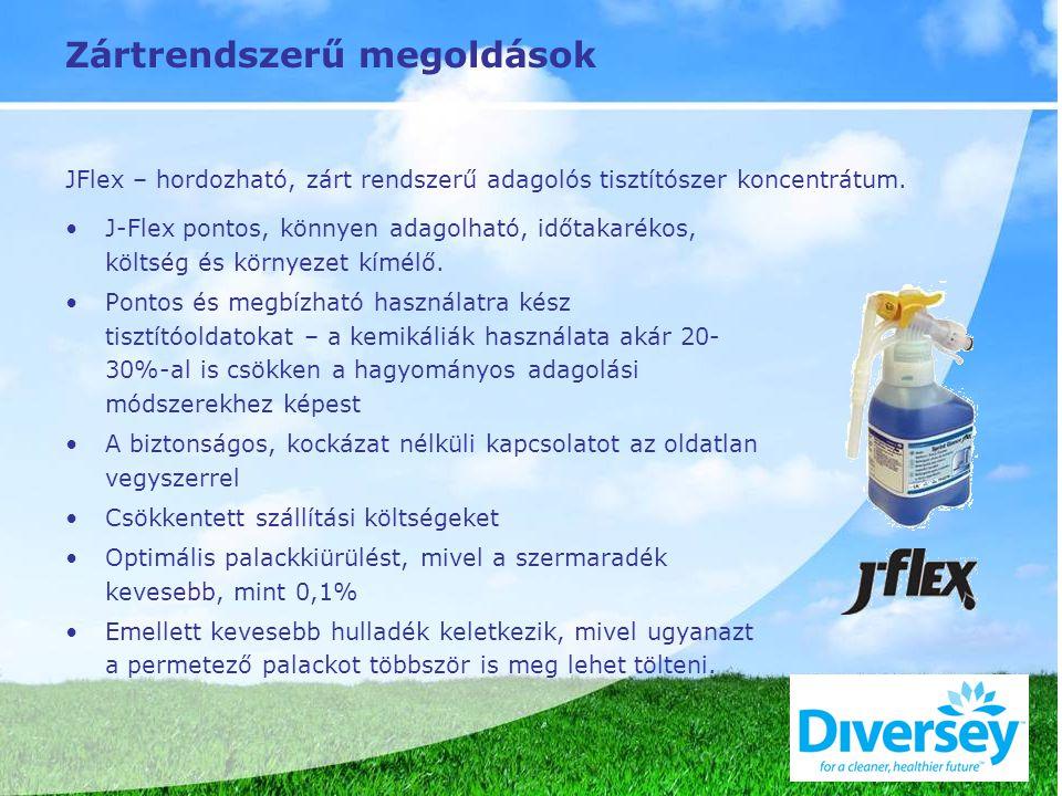 Zártrendszerű megoldások JFlex – hordozható, zárt rendszerű adagolós tisztítószer koncentrátum.