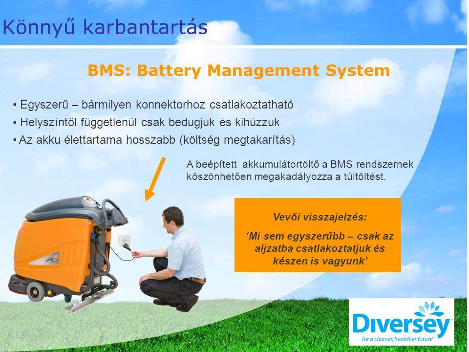 BMS: Battery Management System A beépített akkumulátortöltő a BMS rendszernek köszönhetően megakadályozza a túltöltést.